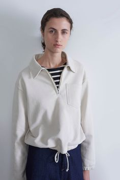 Spring Summer 2019 - Chalk dry loopback jersey track top, black / natural naval stripe cotton jersey long sleeve matelot, indigo lightweight denim work skirt Spring Summer Fashion, Winter Fashion, Collarless Jacket, Margaret Howell, Gorgeous Fabrics, Fashion 2020, Women's Fashion, Look, Casual Outfits