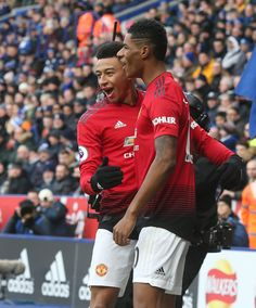 Marcus Rashford of Manchester United celebrates scoring their first goal during of the Premier League match between Leicester City and Manchester United at The King Power Stadium on February Get premium, high resolution news photos at Getty Images Man Utd Fc, National Best Friend Day, Jesse Lingard, Manchester United Players, Marcus Rashford, Premier League Matches, Rugby Players, Team Photos, Man United