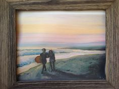 Oil: Girl walking Surfer Home at Sunset Actually its a photo of my boyfriend stefano and i, it now hangs happily in Italy:) My Boyfriend, Walking, Italy, Oil, Fine Art, Sunset, Painting, Sunsets, Italia
