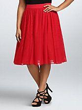 Tulle Mesh Midi Skirt, JESTER RED