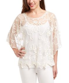 Another great find on #zulily! White Embroidered Silk-Blend Cape-Sleeve Top by Pretty Angel #zulilyfinds