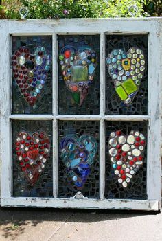 old window frame and mosaics