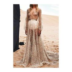 Rotita Long Sleeve Semi Sheer Sequin Decorated Maxi Dress ($23) ❤ liked on Polyvore featuring dresses, gowns, silver, sexy dresses, maxi dress, sexy evening gowns, v neck maxi dress and long sleeve evening gowns