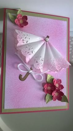 New birthday card craft creative ideas Fancy Fold Cards, Folded Cards, Paper Doily Crafts, Paper Doilies, Umbrella Cards, Mini Umbrella, Tarjetas Diy, Card Tutorials, Creative Cards