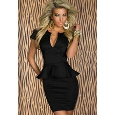 V-Neck Sexy Style Short Sleeves Solid Color Club Polyester Women's Dress, BLACK, M in Club Dresses | DressLily.com#lkid=12827