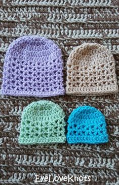 EyeLoveKnots: Lightweight V-Stitch Preemie Beanies - Free Crochet Pattern
