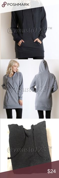 ‼️LAST ONE- DARK GREY LONG HOODIE SWEATSHIRT THIS IS DARK GREY. SEE FIRST AND THIRD PICTURE FOR TRUE COLOR!!! SECOND PHOTO IS TO SHOW THE EXACT STYLE OF FRONT AND BACK. THESE ARE SOOO COMFORTABLE. EXCELLENT QUALITY. FITS TRUE TO SIZE AND NICE AND LONG. S(2-4) M(6-8) L(10-12) - LIMITED QUANTITIES. HURRY AND GET THEM! Made of 52% cotton, 46% poly, 2% spandex  Perfect for Easter Break Memorial Day spring break Coachella festival vacation lounging date night anniversary birthday present gift…