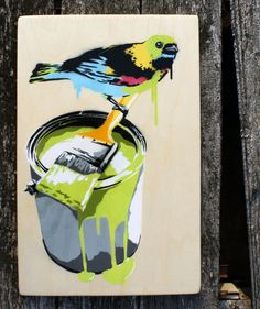 Colorful Bird Stencil Street Art on Wood Canvas by KittiAndCalo, $49.95