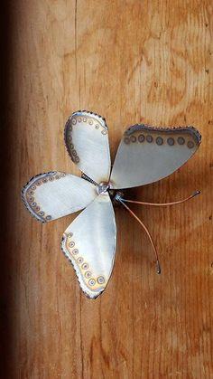 Metal Butterfly Sculpture, Scrap Art, Scrap metal, Stainless Butterfly, Original Artwork