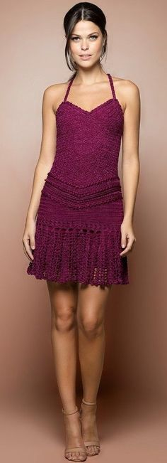 Vanessa Montoro purple crochet dress @roressclothes closet ideas #women fashion outfit #clothing style apparel