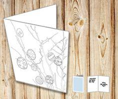 Påskkort: Påskris med ägg att färglägga själv Printables, Pictures, Print Templates