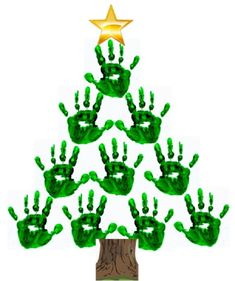 Christmas tree out of family or child handprints. This could be cute for an ornament idea.