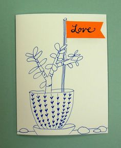 Hand drawn card with cut-paper flag for a bridal shower.