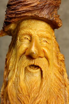 Wood Spirit Wood Carving Christmas Gift for by TreeWizWoodCarvings, $110.00