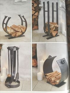 Wood burning stove log holders
