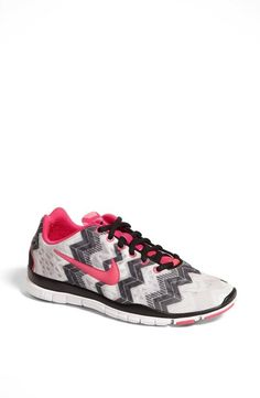 Pink & grey chevron Nike training shoes. If only they were blue or some other color instead.