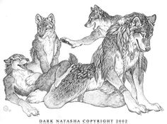 """Den Mother - """"Mother wolf taking care of her cubs."""""""