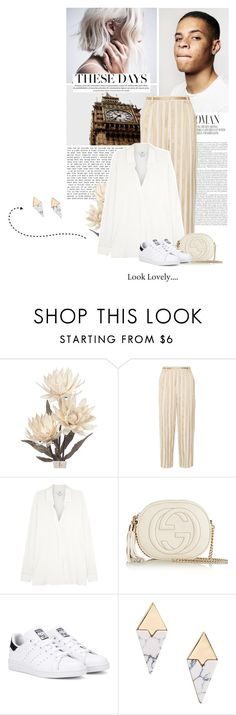 """""""these days..."""" by eve-angermayer ❤ liked on Polyvore featuring The Row, Vince, Gucci, adidas Originals, gold, white, eveangermayer and angermayerevelin"""