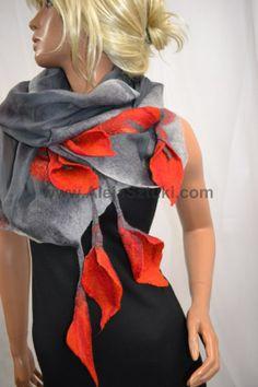 Silk scarf gray with red calla, hand-made, natural silk and merino wool. A unique design. Nuno felt. Nuno felting.  www.sklep.alejasztuki.com