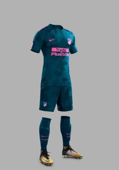 The first-ever Nike Atlético Madrid third jersey introduces a bold look in 'Space Blue' and 'Laser Pink'. Soccer Kits, Football Kits, Soccer Outfits, Sport Outfits, Basketball Teams, Football Jerseys, Messi, Football Shirt Designs, Sports Jersey Design