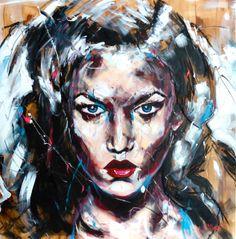 Portrait T117 Acrylique & fusain sur toile 100X100cm http://www.lucile.callegari.fr