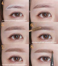 Korean style subtle makeup tutorial Peach pinks and shimmers eye makeup look Korean Makeup Look, Korean Makeup Tips, Korean Makeup Tutorials, Asian Makeup, Perfect Eyebrows Tutorial, Eyebrow Tutorial, Perfect Brows, Eyebrow Makeup, Makeup Eyeshadow