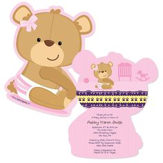 Show off everyone's favorite boy teddy bear character with this fun shaped baby shower invitation. Each shaped baby shower invitation perfectly coordinates with the Baby Boy Teddy Bear baby shower theme and will be customized with your party informa Baby Teddy Bear, Teddy Bear Baby Shower, Baby Shower Niño, Boy Baby Shower Themes, Baby Shower Parties, Teddy Bears, Babyshower, Custom Baby Shower Invitations, Baby Invitations