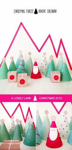 Christmas Forest Advent Calendar - Decorate paper cones, then hide a treat and activity suggestion under each. Super simple, inexpensive, great kids project.