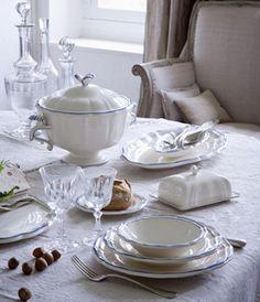 """Zastawa stołowa - Faïencerie de GIEN """"Collection Filet Bleu """""""