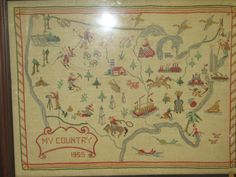"Vintage Hand Made Cross Stitch Sampler Embroidery 1955 USA Map Framed 20"" x 25"" 