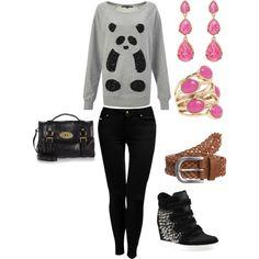 #panda #fashion #pink #casual