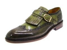 Paul Parkman Men's Wingtip Monkstrap Hand Painted Loafer Dress Shoes Green 060 #PaulParkman #LoafersSlipOns