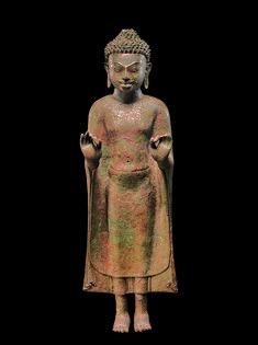 Buddha Preaching Date: century Culture: Northeastern Thailand Medium: Copper alloy inlaid with silver and glass or obsidian Dimensions: H. 100 lbs kg) Art Thai, Future Artist, Asian Sculptures, Standing Buddha, Thailand Art, Stone Sculpture, Buddhist Art, Metropolitan Museum, Asian Art