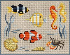 Cross-stitch Ocean Life, part 1... no color chart available, just use pattern chart as your color guide.. or choose your own colors...    Gallery.ru / Фото #23 - Морская тема - elena-555
