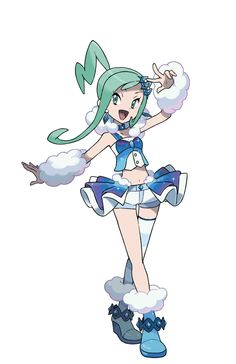 1girl :d absurdres aqua_eyes aqua_hair arm_warmers asymmetrical_legwear boots choker crossed_legs earrings flat_chest full_body fur_collar green_eyes green_hair hair_ornament hairclip highres idol jewelry leg_warmers long_hair looking_at_viewer lucia_(pokemon) midriff navel nintendo official_art open_mouth payot pokemon pokemon_(game) pokemon_oras ponytail shorts shorts_under_skirt showgirl_skirt single_thighhigh skirt smile solo standing striped striped_legwear sugimori_ken thigh-highs…