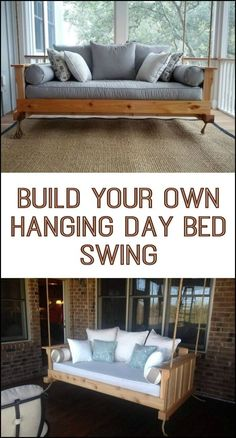 Learn how to build your own hanging day bed swing! This DIY project doesn't require any special tools and skills. And anybody who's simply willing to squeeze in a couple of hours every day can make their own hanging daybed swing in a week! Hanging Beds, Diy Hanging, Hanging Chairs, Hanging Porch Bed, Diy Bett, Outdoor Daybed, Outdoor Bed Swings, Diy Porch, Porch Ideas