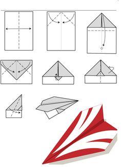 Diagramme dorigami davion planeur en papier : modèle 2