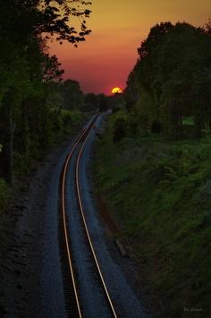 Beautiful sunset over the railroad tracks