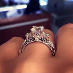 This beautiful Verragio VENETIAN-5013R0.45CTW Diamond Engagement Ring Setting is available in 14k, 18k, and Platinum. It features a Pave Set Diamond Twisted split shank along with lace embellishments along the inside of the shank, creating a stunning profile view.
