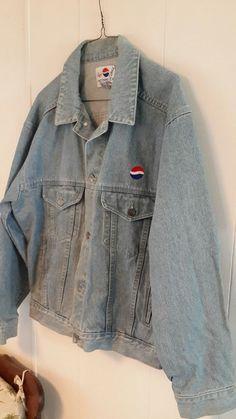 Vintage 90s Nothing Else Is A Pepsi Denim Trucker Jacket M Blue Advertising  #Pepsi #JeanJacket