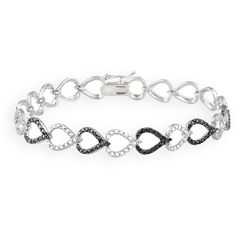 This elegant bracelet features alternating black rhodium plated andwhite heart designed links.  One genuine black diamond is setamongst a faux pave pattern to …