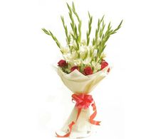 This breath-taking bouquet is a warm expressions of your most heart-filled desires.The bouquet contains 10 red roses and 10 white glades. Make this bouquet a gift that displays your most romantic intentions.
