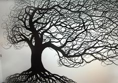 Tree Murals | Tree mural Murals | Mural of Tree, silhouette, in urban loft, hand ...