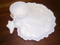 Vintage Milk Glass Cup & Snack Tray by Antiquesmarketplace on Etsy https://www.etsy.com/listing/127388485/vintage-milk-glass-cup-snack-tray