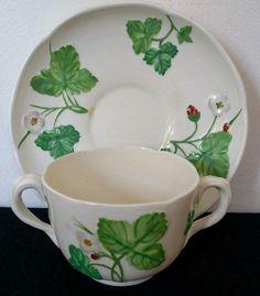 ANTIQUE MINTON VICTORIA STRAWBERRY Soup Cup & Saucer MINTONS England Bone China #MintonFineBoneChinaEngland