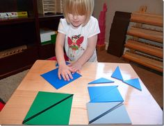 Constructive Triangle Work - transitioning from the constructive triangle boxes to the blue constructive triangles Maria Montessori, Montessori Materials, Teaching Kids, Kindergarten, Classroom, Education, Math, Learning, Children