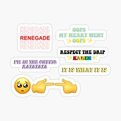 """*renegade in this tote bag """"thank you, have a nice day"""" style *oops my heart went oops *respect the drip KAREN *og 'im in the ghetto ratatata' *it iz what it iz *'im shy' emojis"""