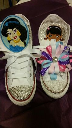 Customized converses #blingedoutconversesneakers #blingedoutconverses #blingconverse #keishacustomdesigns #pearls #bows #DocMcstuffins #princessJasmine   For order info please  MAIL me for details  Sugarhill1018@gmail.com