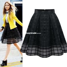 Hot-Women-High-Waist-Chiffon-Slim-Skirt-Ladies-Organza-Pleated-Skirt-Dress-ESY1