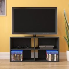 Ebern Designs Chamisa Swivel Bar & Counter Stool & Reviews | Wayfair Tv Stand Rack, Tv Stand And Entertainment Center, Tv Bench, Storing Books, Cubbies, Shelves, Shelving Units, Media Cabinet, Black Wood